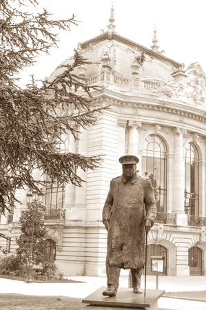 minister of war: Statue depicting Winston Churchill outside the Petit Palais in Paris, France Editorial