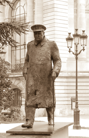 england politics: Statue depicting Winston Churchill outside the Petit Palais in Paris, France Editorial