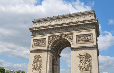 champs elysees: Architectural detail of the Triumphal Arch on  Champs Elysees boulevard in Paris, France