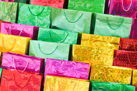 gift bags: Detail of colorful gift bags