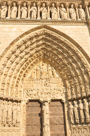 notre dame cathedral: Architectural detail of the famous Notre Dame cathedral in Paris, France