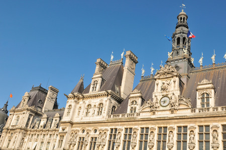 ville: Architecture of The Hotel de Ville City Hall, the building housing the local administration of the city of Paris Editorial