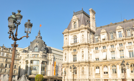 gothic revival style: Paris, France - July 9, 2015: Architecture of The Hotel de Ville (City Hall), the building housing the local administration of the city of Paris