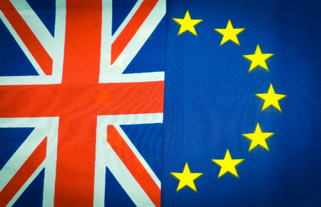 yes or no to euro: Flags of United Kingdom and European Union Stock Photo
