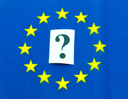 scepticism: European Union uncertainty concept with flag and question mark Stock Photo