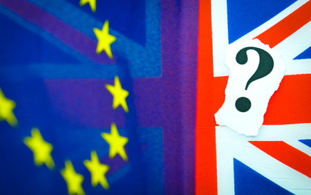 Brexit UK EU referendum concept with flags and topical message Reklamní fotografie