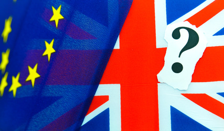 Brexit UK EU referendum concept with flags and topical message
