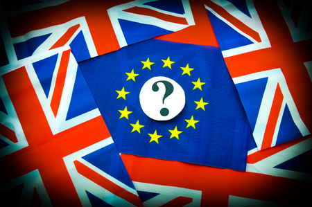 scepticism: Brexit UK EU referendum concept with flags and topical message
