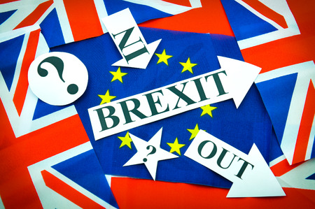 sceptic: Brexit referendum concept with flags and topical message Stock Photo