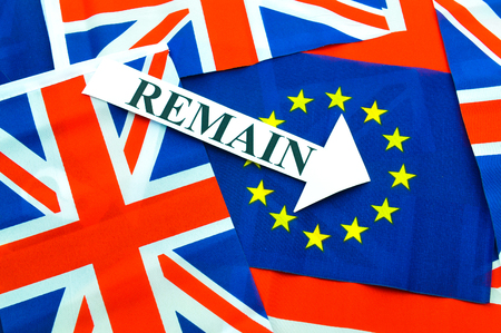 referendum: Brexit UK EU referendum concept with flags and remain message Stock Photo