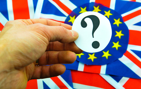 scepticism: UK EU referendum concept with flags and topical message Stock Photo