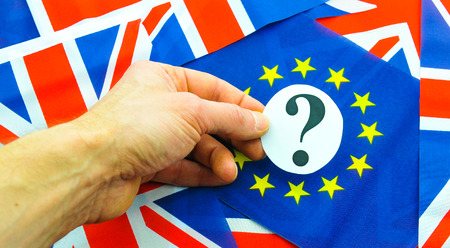 yes or no to euro: UK referendum concept with flags and topical message