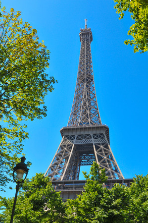 metalwork: Architectural detail of the famous Eiffel Tower in Paris, France Stock Photo
