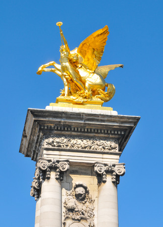 iii: Architectural detail The Pont Alexandre III in Paris, France