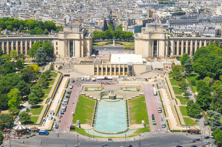 paris france: Aerial view of Paris, France as seen from Eiffel Tower Stock Photo