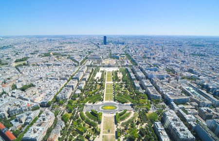 city view: Aerial view of Paris, France as seen from Eiffel Tower Stock Photo