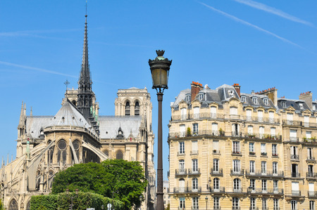 parisian: Architectural panorama of the Notre Dame cathedral in Paris, France