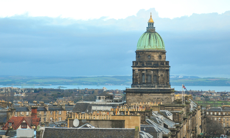 scot: Edinburgh, Scotland - December 23, 2015: Panoramic view of the roofs of medieval buildings in Edinburgh in  Scotland, UK Editorial