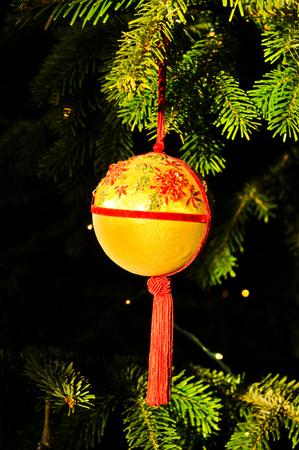 tree detail: Detail of ornament on Christmas tree