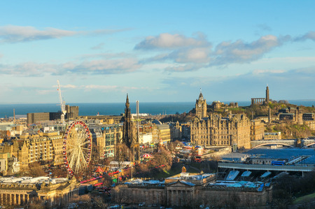 scot: Edinburgh, Scotland - December 23, 2015: Panorama view with roofs of medieval buildings in Edinburgh in  Scotland, UK Editorial