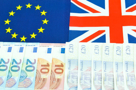versus: Pound versus euro  concept with currency end EU flag Stock Photo