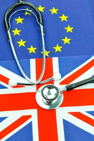 referendum: Brexit referendum concept with EU and UK flags and stethoscope