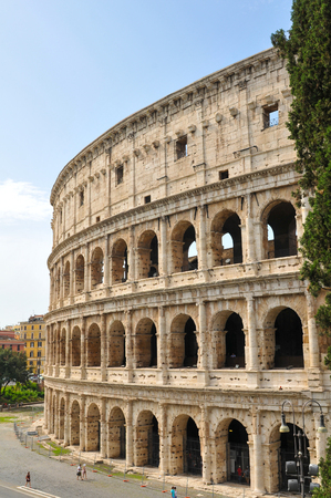 Architectural detail of the Colosseum in Rome, Italy