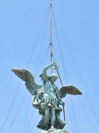 Architectural detail of angel statue in Rome, Italy