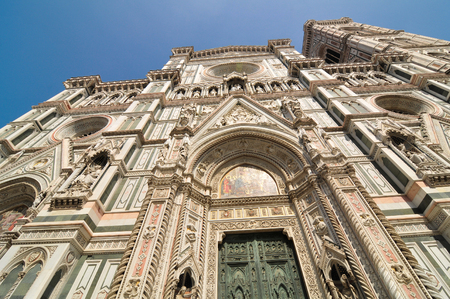 Architectural detail of the Cathedral of Saint Mary of the Flowers in Piazza del Duomo, Florence, Italy Stock Photo