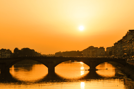 Bridge at sunset in Florence, Italy