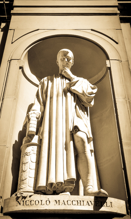 humanist: Architectural detail of statue depicting Niccolo Macchiavelli in Florence, Italy.