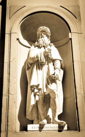 Architectural detail of statue depicting Leonardo da Vinci in Florence, Italy.