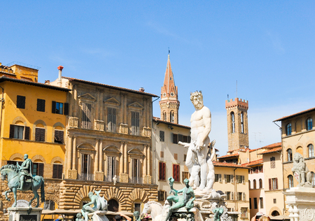 Architectural detail of the Fountain of Neptune in Piazza della Signoria (Florence, Italy)