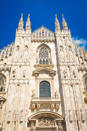 Architectural detail of the famous Milan Cathedral (Duomo di Milano) in Italy.