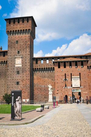 xv century: Milan, Italy - June 27, 2016: Tourists visit the XV century Sforza Castle (Castello Sforzesco) in Milan, Lombardy, Italy