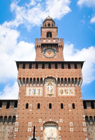 xv century: XV century Sforza Castle (Castello Sforzesco) in Milan, Lombardy, Italy