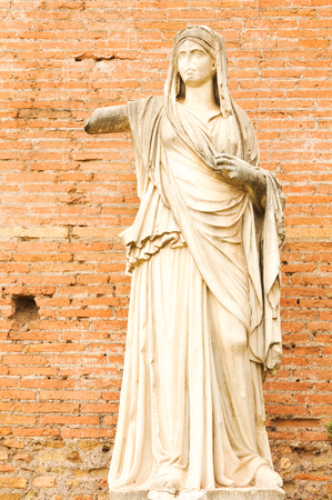 deteriorated: Detal of ancient statue in Rome, Italy