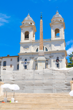 Piazza di Spagna, major tourist landmark in Rome, Italy is under reconstruction. Stock Photo