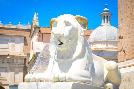 Detail of lion fountain in Rome, Italy Stock Photo