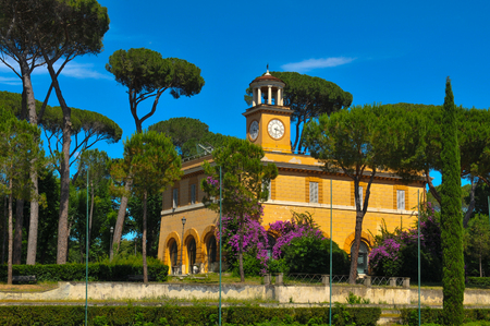 Architectural detail of old building in Borghese Gardens, Italy, Rome