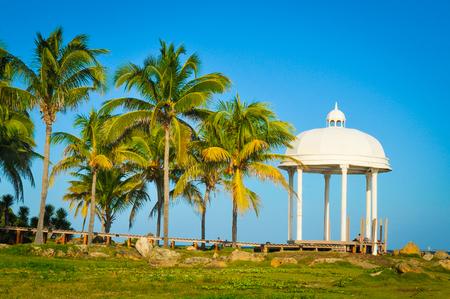 White pavilion overlooks the Caribbean Sea in Varadero, Cuba