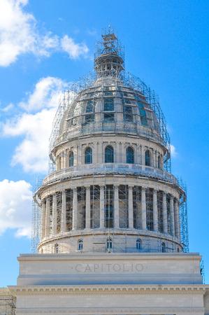 Architectural detail of the Capitol building (El Capitolio) in Havana, Cuba Editorial