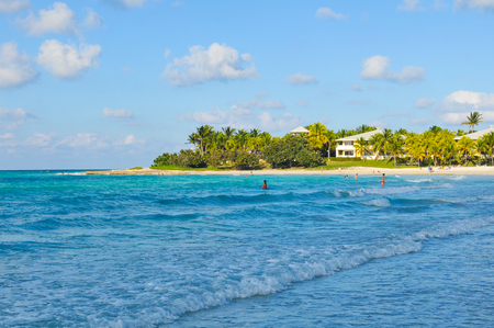 Varadero, Cuba - December 15, 2016: Tourists swim in the Caribbean sea in Varadero, Cuba