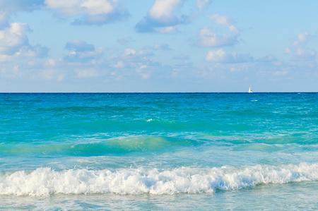 Waves of the Caribbean Sea in Varadero, Cuba