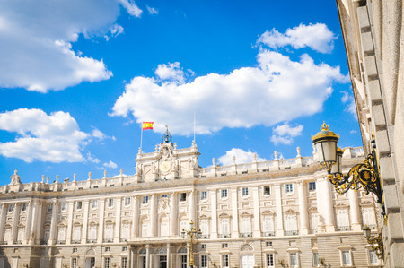 Architectural detail of the Royal Palace (Palacio Real), major cultural and historical landmark in Madrid, Spain Editorial