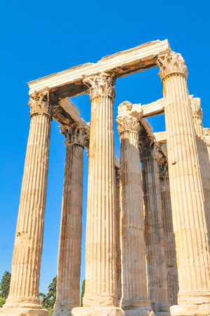 restored: Architectural detail of the Temple of Olympian Zeus in Athens, Greece Stock Photo