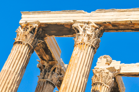 olympus: Architectural detail of the Temple of Olympian Zeus in Athens, Greece Stock Photo