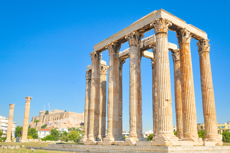 Architectural detail of the Temple of Olympian Zeus in Athens, Greece Stok Fotoğraf