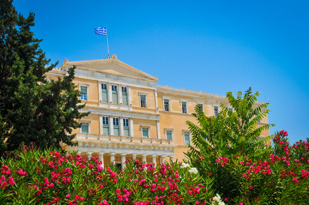 View of the Hellenic Parliament in the Old Royal Palace in Syntagma Square, Athens, Greece