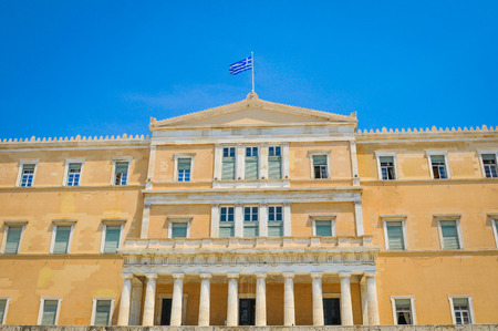 Architectural detail of the Hellenic Parliament in the Old Royal Palace in Syntagma Square, Athens, Greece Editorial